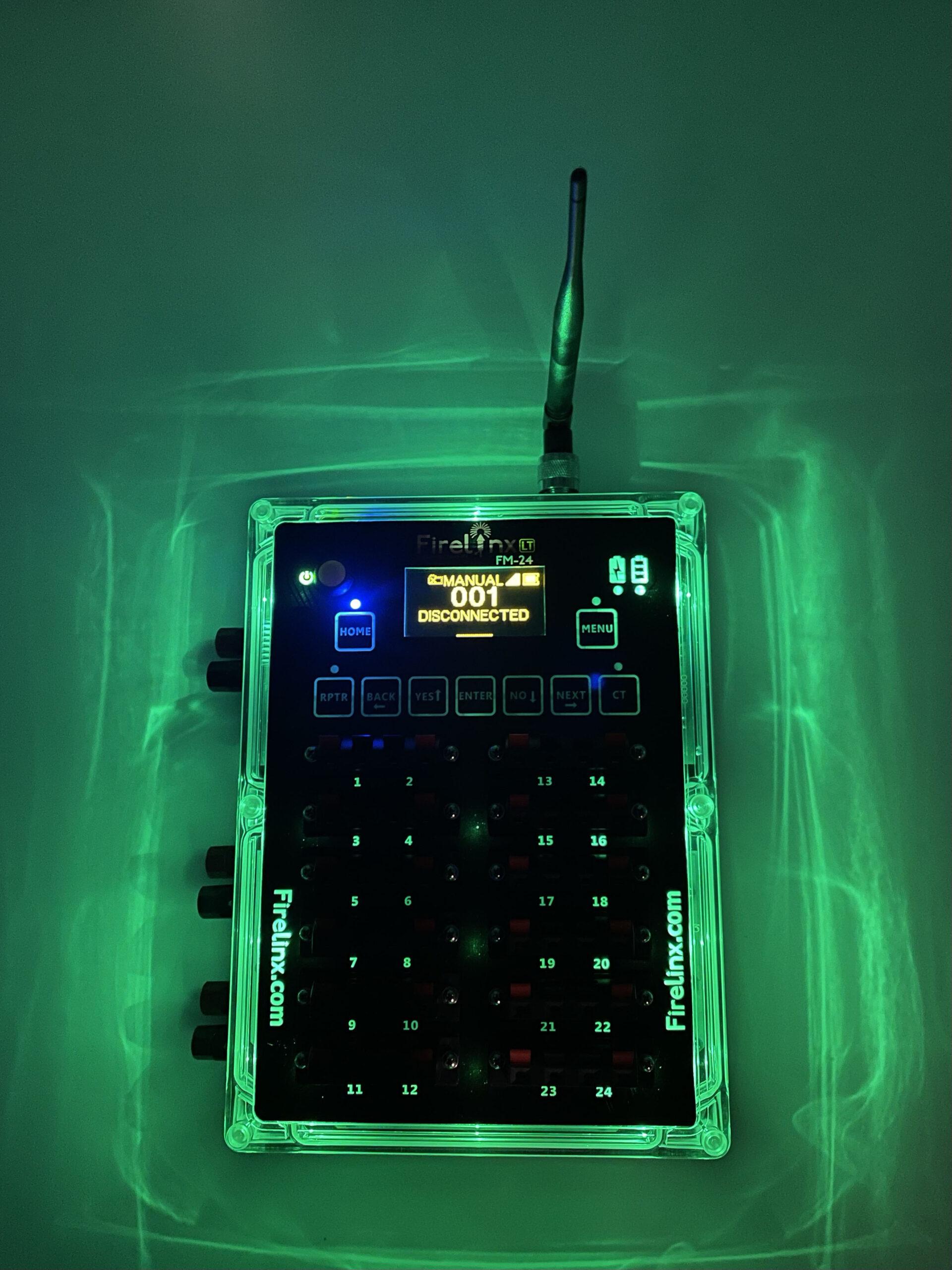 Firelinx Firing Systems- Firing Module - Green LEDs lit up indicating Safe Mode